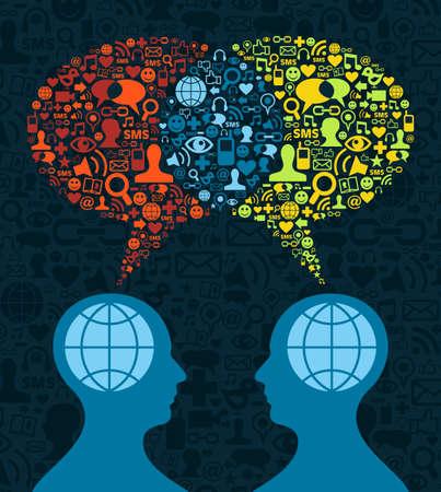 relaciones humanas: Dos figuras humanas cara a cara en la comunicaci�n conceptual, medios de comunicaci�n social en el icono de poner el fondo azul.