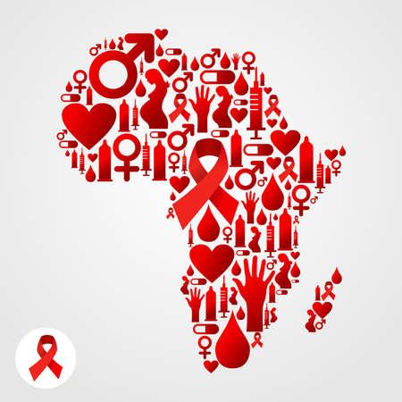 vih sida: Mapa de �frica silueta hecha con el SIDA conjunto iconos. Vectores