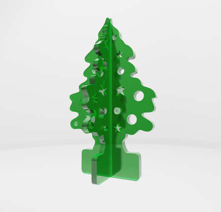 Green glossy 3d Christmas tree on white background. photo