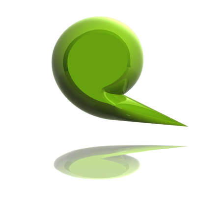 3d green social media dialog bubble isolated over white background.  photo