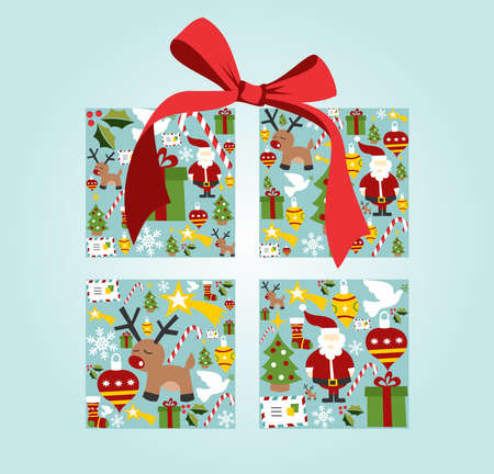 Christmas icon set in gift box illustration background. Vector