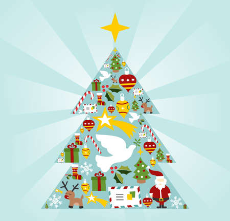 Christmas icon set in tree shape with a star on the top postcard background.  Vector