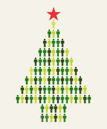 sociology: Green Social media business people connection in Christmas tree shape Illustration