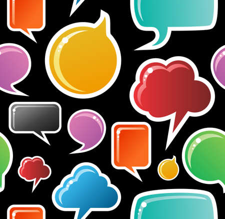 text box: Social speech bubbles in different colors and forms seamless pattern illustration. Black background  Illustration