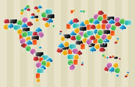 Soziale Sprechblasen in verschiedenen Farben und Formen in der Welt Weltkarte Illustration. Vektorgrafik
