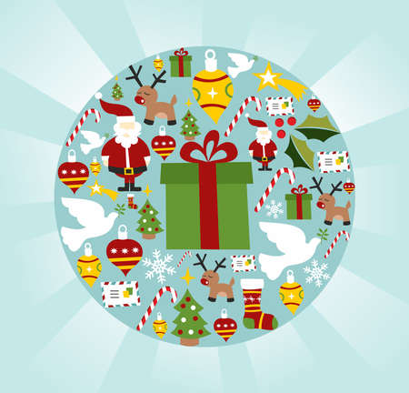 Christmas icon set in circle shape background.  Vector