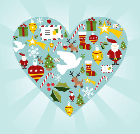 Christmas icon set in heart shape background. Vector
