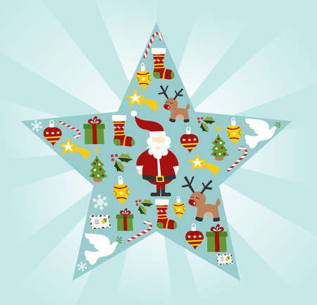 Christmas icon set in star shape background. Vector file available. Vector