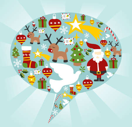 Xmas icon set in speech bubble shape background.  Stock Vector - 11647383