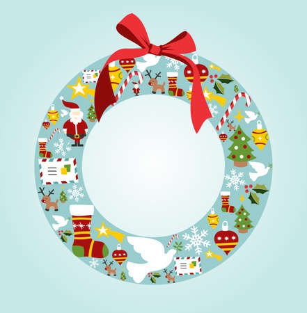 Christmas icon set in wreath shape background. Vector