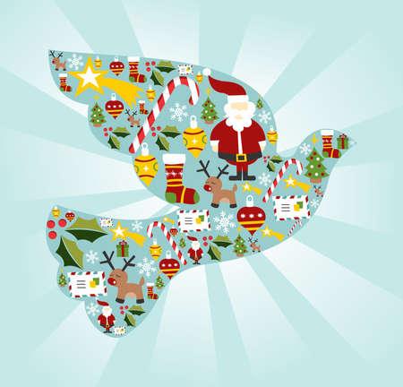 Weihnachten icon set in Friedenstaube Form Hintergrund.
