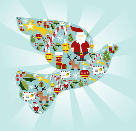 Christmas icon set in dove of peace shape background. Stock Vector - 11647387