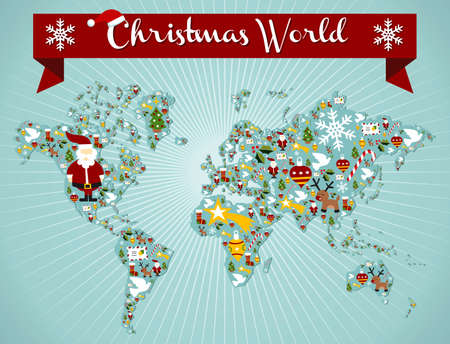 Christmas icon set in globe world map background. Vector