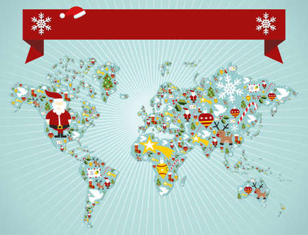 Christmas icon set in globe world map background with blank space banner.