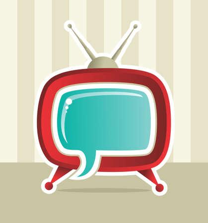 Vintage Social media web tv concept illustration. Vector