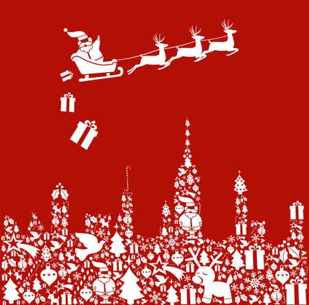 calcetines: Icono de la Navidad fijado en forma de la ciudad y Santa entrega los regalos de su trineo.