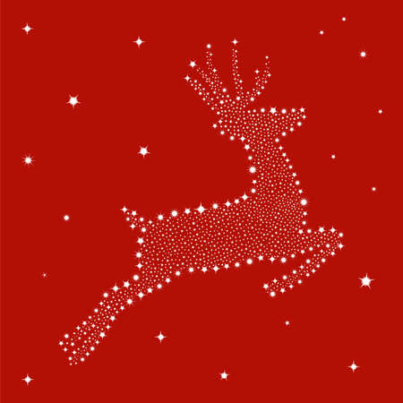Christmas stars in reindeer shape postcard red background. Vector file available. Vector