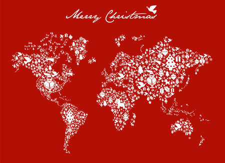 Merry Xmas with icon set in globe world map background. Vector