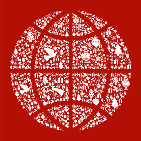 Christmas icon set in globe world icon background. Vector