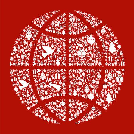 world peace: Christmas icon set in globe world icon background. Illustration