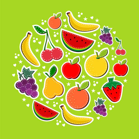 Contemporary fruits composition in block colors. Useful illustration background for food industry ads design Vector
