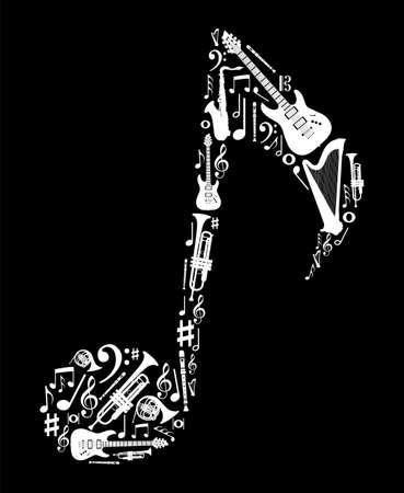 harfe: Die Liebe zur Musik Konzept Illustration. Hoher Kontrast Musikinstrumenten icon set in Notenform Hintergrund. Illustration