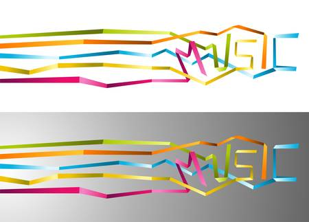 notation: Love for music origami multicolored ribbon illustration. Vector file available.