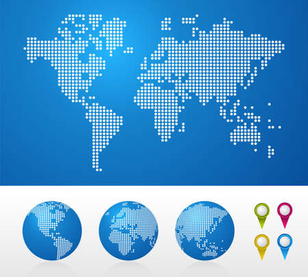 dotted background: Dot World maps and globes business background. Illustration