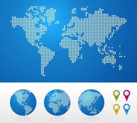 mapa mundo: Los mapas mundiales de puntos y antecedentes globos de negocios.