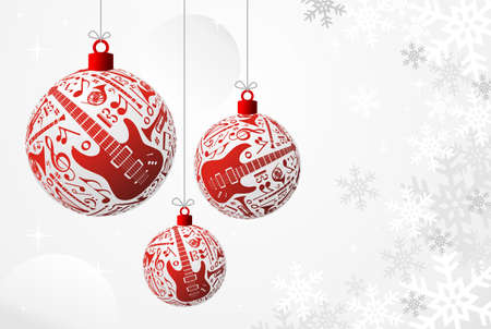 Love Christmas music concept illustration. Music instruments set in red bauble shape background.