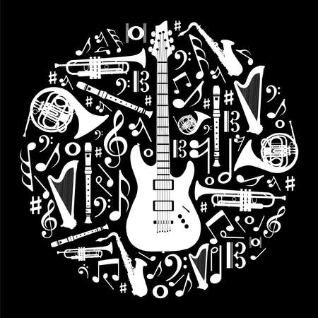 musical instrument symbol: High contrast music instruments silhouette in circle shape. Vector file available. Illustration