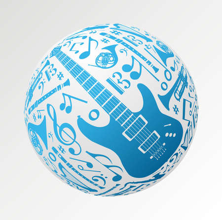 Love for music concept illustration. Music instruments set in sphere ball shape background. Vector file available. Stock Vector - 11859955