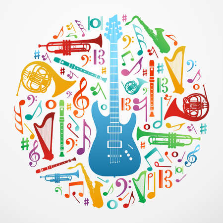 円の図形で色とりどりの音楽楽器シルエット。  イラスト・ベクター素材