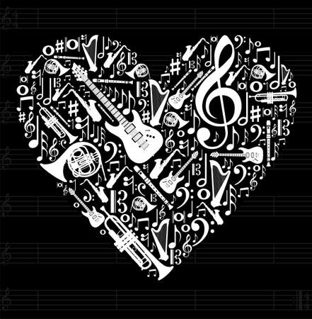 notation: Love for music concept illustration. High contrast musical instruments icon set in heart shape background.