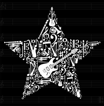 love music: Love for music concept illustration. High contrast musical instruments icon set in star shape background.