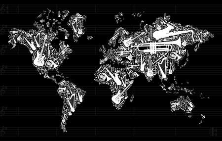 Globe World map silhouette made with musical instruments icon set in black background. Vector
