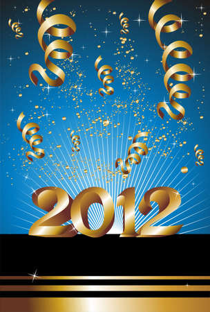 Celebration of New Year 2012 with gold ribbons on a blue background. Stock Vector - 11859987