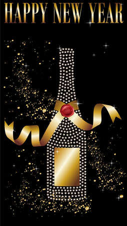 Diamond champagne bottle with gold ribbon in New Year celebration. Vector