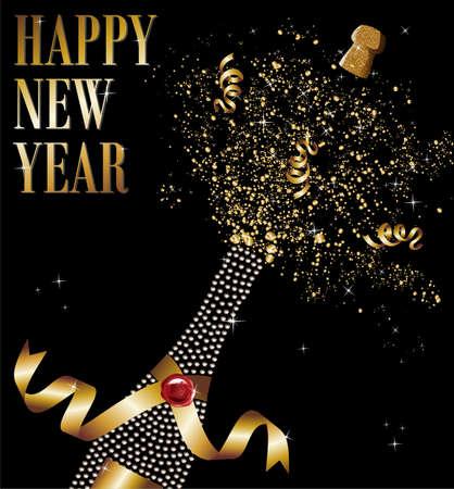 sylwester: Butelka szampana diament złotą wstążką w New Year Celebration.