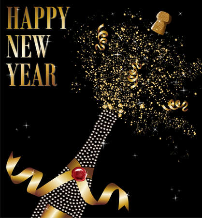 Diamond champagne bottle with gold ribbon in New Year celebration.  Illustration
