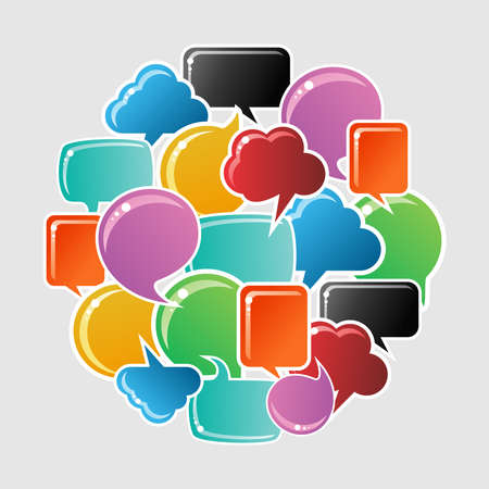 Social speech bubbles in different colors and forms in circle shape illustration. Vector file available. Vector