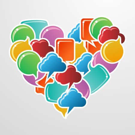 Social speech bubbles in different colors and forms in heart shape illustration. Vector file available. Stock Vector - 11915404