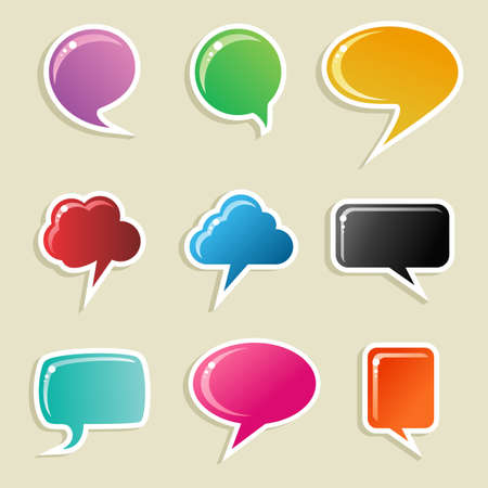 Social speech bubbles in different colors and forms illustration set. Vector file available. Stock Vector - 11915398