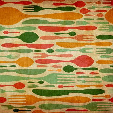 cuchillo de cocina: Vintage Cubiertos icono de fondo sin fisuras patr�n. Tenedor, cuchillo y cuchara de siluetas de diferentes tama�os y colores.
