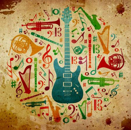 clave de fa: Instrumentos musicales multicolores silueta en forma de círculo. De fondo antiguo Foto de archivo