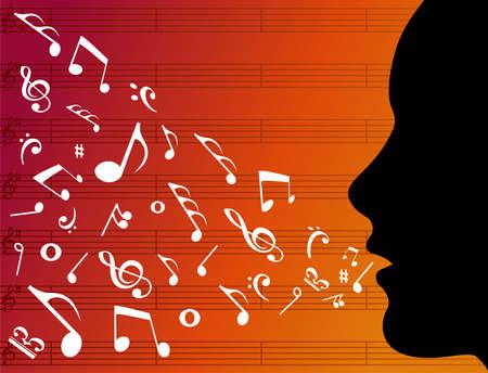 pentagramma musicale: Testa di donna silhouette con note musicali spruzzi dalla sua bocca su sfondo arancione. Vector file disponibili.