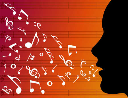 music icons: Woman head silhouette with music notes splashes from her mouth over orange background. Vector file available.
