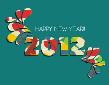Celebration of New Year 2012 with color splashs in green background. file available. Vector