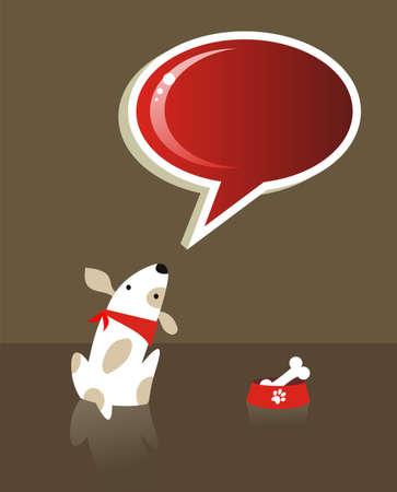 patas de perros: El perro con la comida del hueso y de la burbuja social de rojo sobre fondo marr�n. Archivo disponible