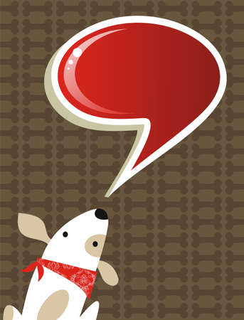 dog eating: Fashion social media dog with speech bubble over brown background. file available
